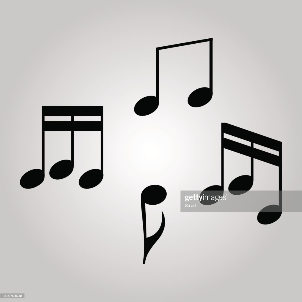 Set of music notes on the grey background