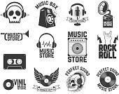 Set of  music store labels. Design elements for logo, label,