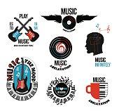 Set of musical logos and emblems.