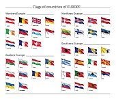 Set of national flags on flagpole.