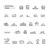 Set of national park and tourism thin line icons.
