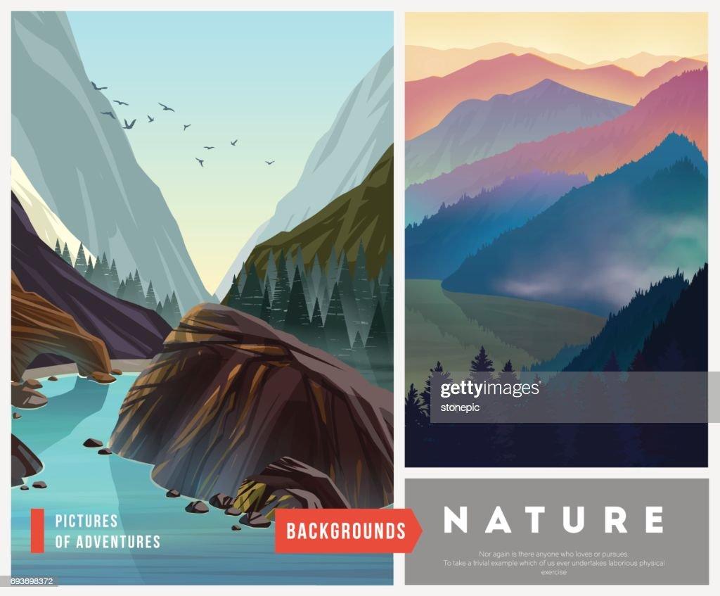 Set of nature landscape backgrounds