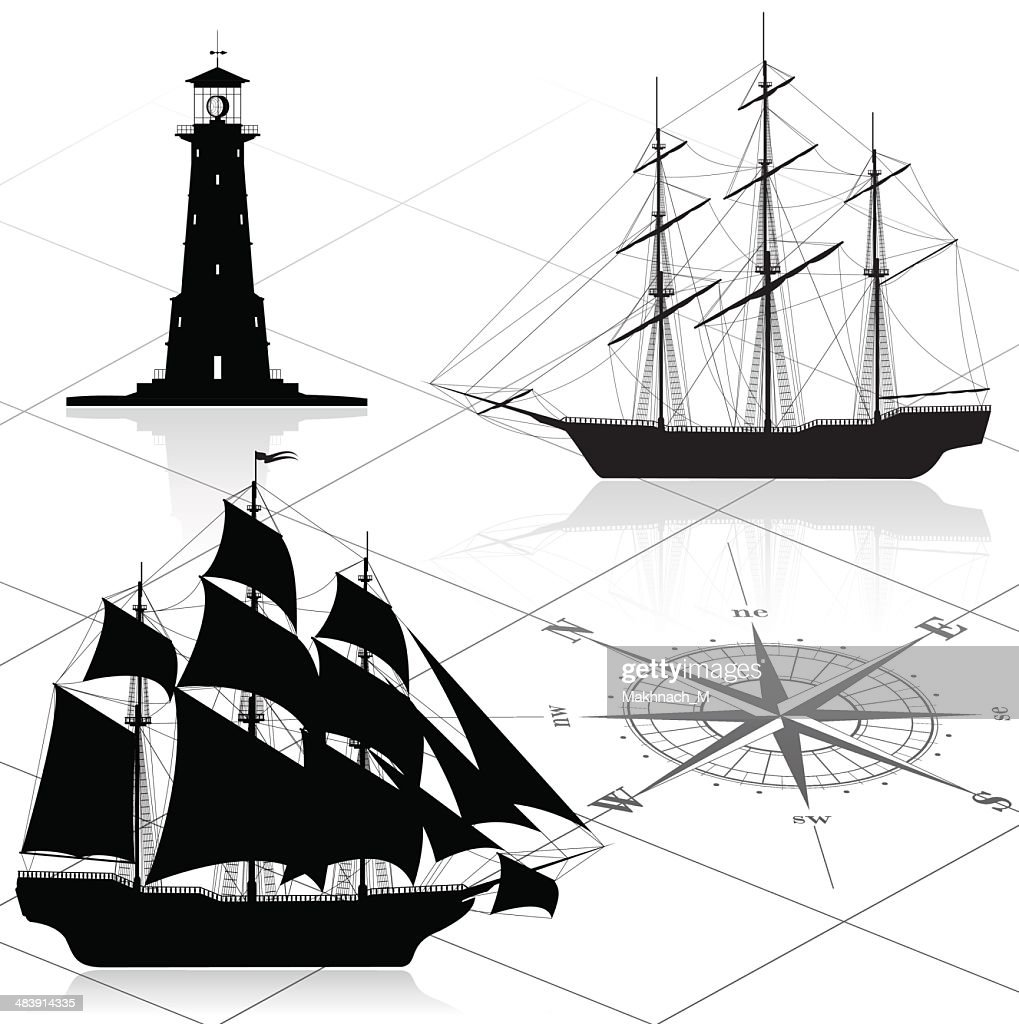 Set of nautical design elements (ships, lighthouse, compass rose)