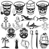 Set of nautical elements. Anchor, fish, shark, ship, octopus. Sailors skulls. Images for label, emblem, sign, poster. Vector illustration.