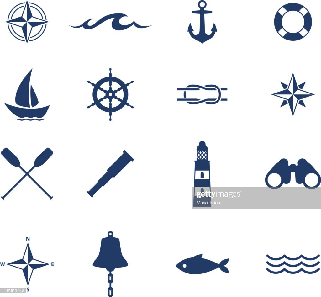 Set of nautical sea ocean sailing icons