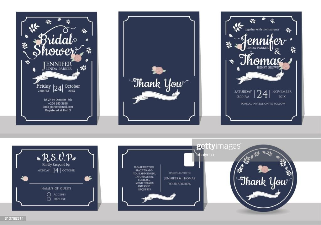 Set of navy blue wedding invitation card minimalist style vector art set of navy blue wedding invitation card minimalist style vector art stopboris Image collections