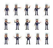 Set of navy captain characters showing different hand gestures