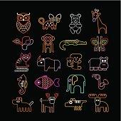 Set of neon animal icons