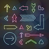 Set of neon arrows
