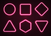 A set of neon geometric shapes.