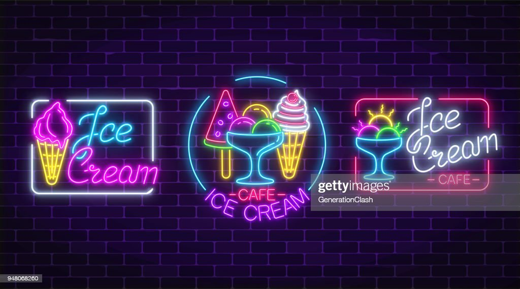 Set of neon ice cream signs with frames on dark brick wall background. Fruit ice-cream in waffle cone.