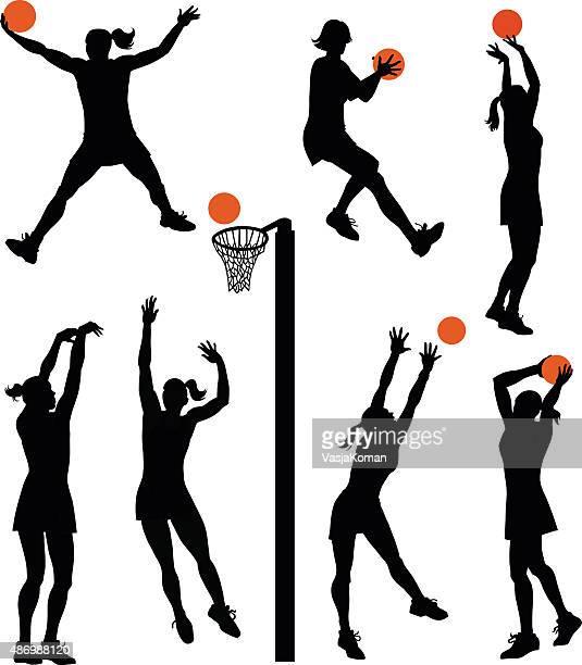illustrations, cliparts, dessins animés et icônes de ensemble de silhouettes isolées de netball joueurs - panier de basket