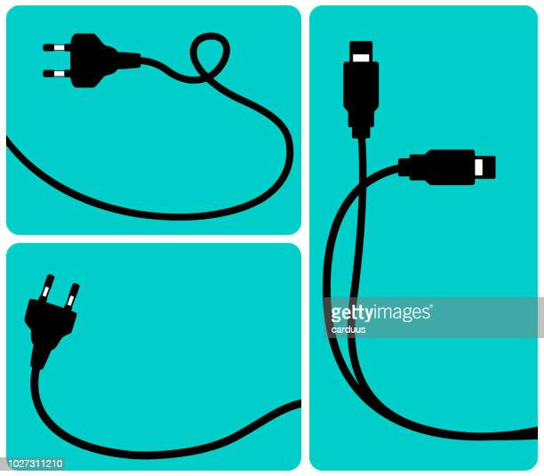 set of network connection plugs - usb cable stock illustrations, clip art, cartoons, & icons