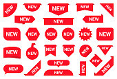 Set of new stickers, sale tags and labels. Shopping stickers and badges for merchandise and promotion, special offer, new collection, discount etc. Red labels for web banners in different shapes