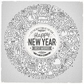 Set of New Year cartoon doodle objects round frame