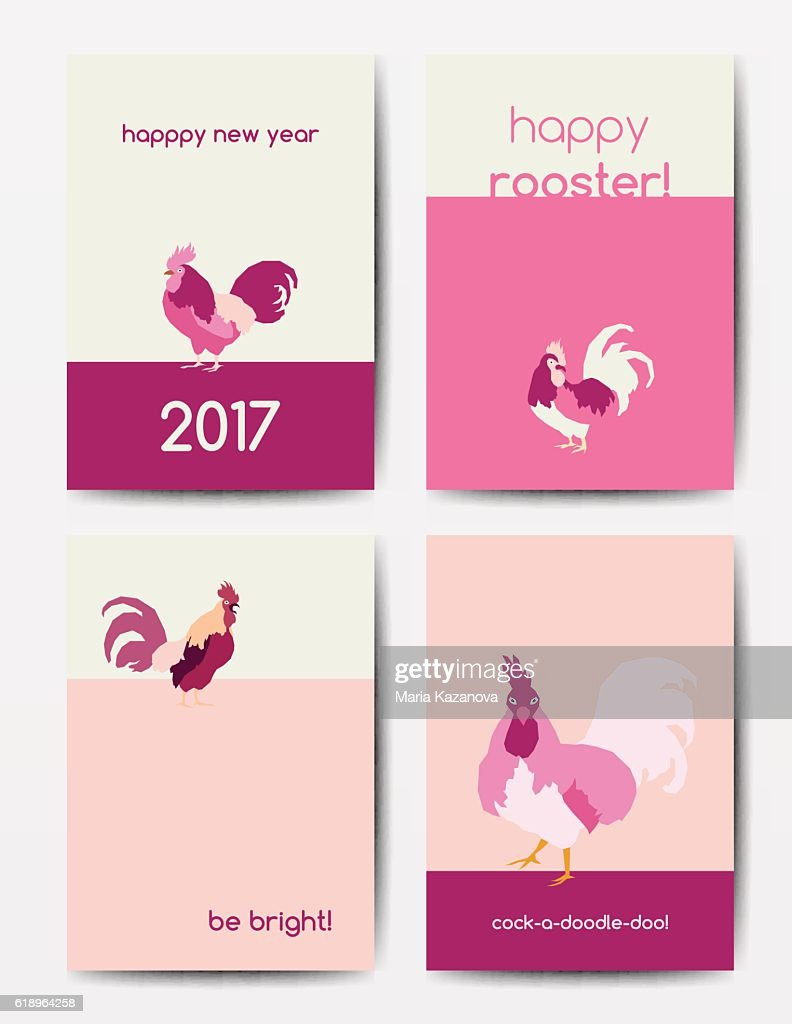 Set of new year postcards with roosters