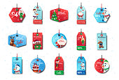 Set Of New Year Sale Tags Colorful Shopping Discounts Stickers Collection On White Background