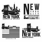 Set of New York, Brooklyn Bridge typography for t-shirt print. Stylized Brooklyn Bridge silhouettes. Tee shirt graphic