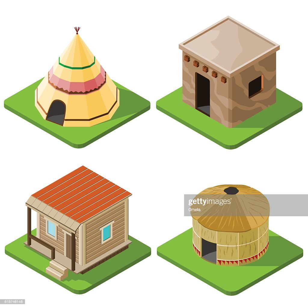 Set of nice looking bright isometric tribal native houses