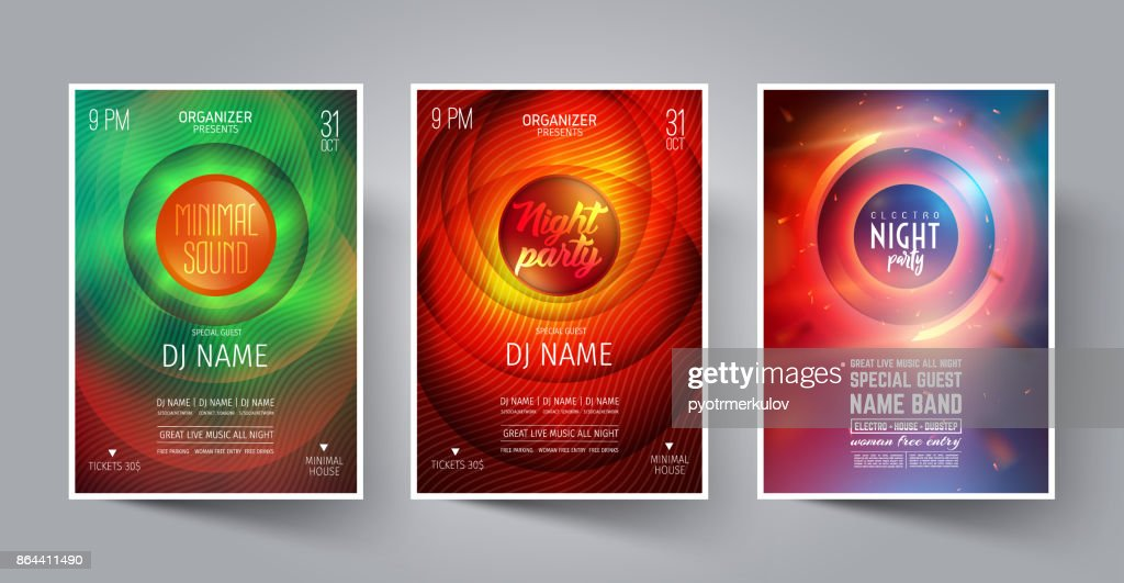 Set of Night Party Flyer or Poster or Banner Layout Template for Music Dance Club in the style of the Disco, House, Minimal, Trance ,Electronics or Indie Festival Rock Concert. Vector illustration.