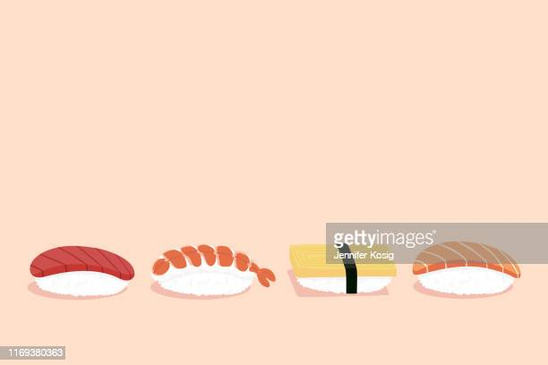 set of nigiri sushi illustration, with copy space, pink background - nigiri stock illustrations