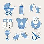 Set of nine baby-themed icons in blue and white