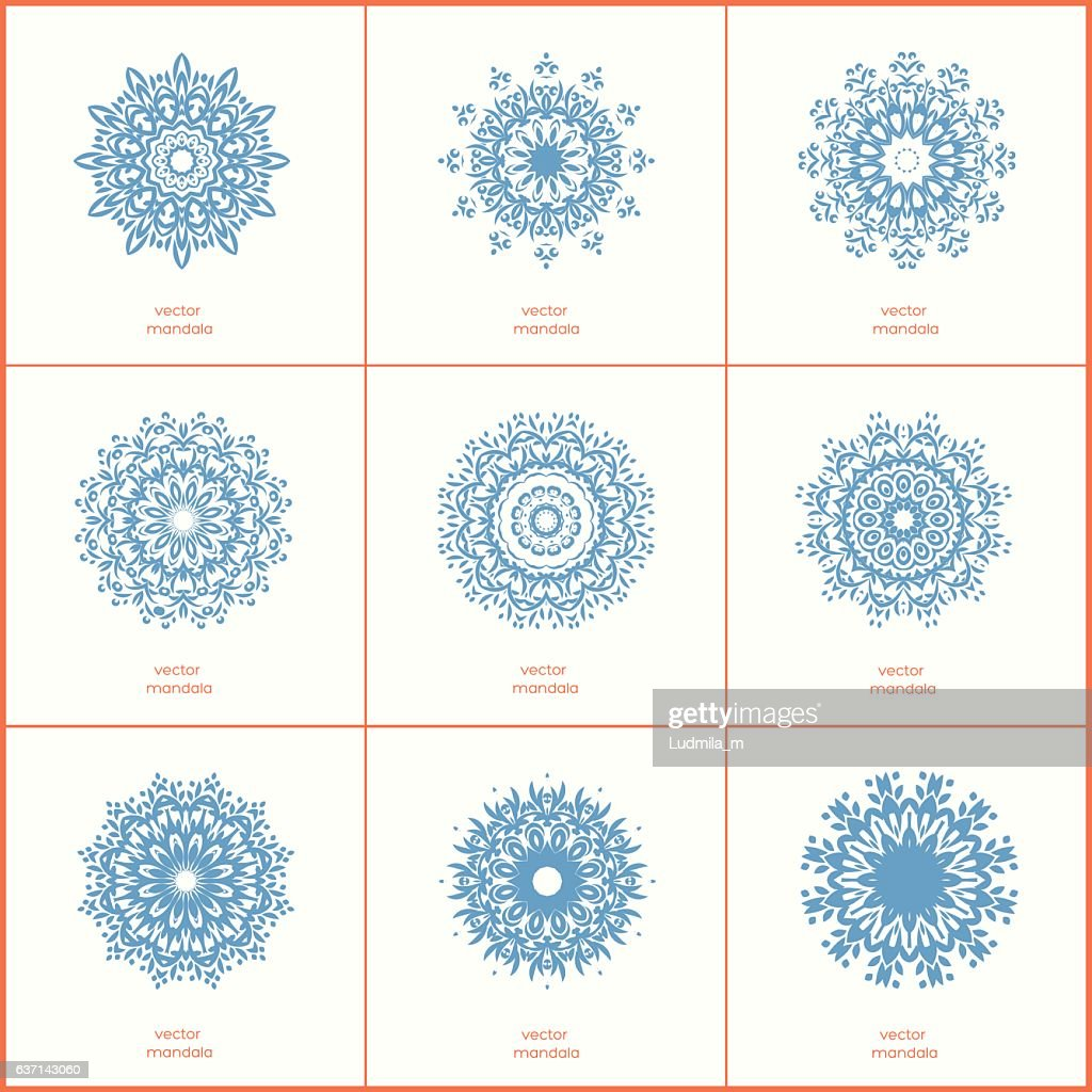 Set of nine blue color oriental flower mandala