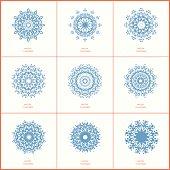 Set of nine blue color oriental flower mandala