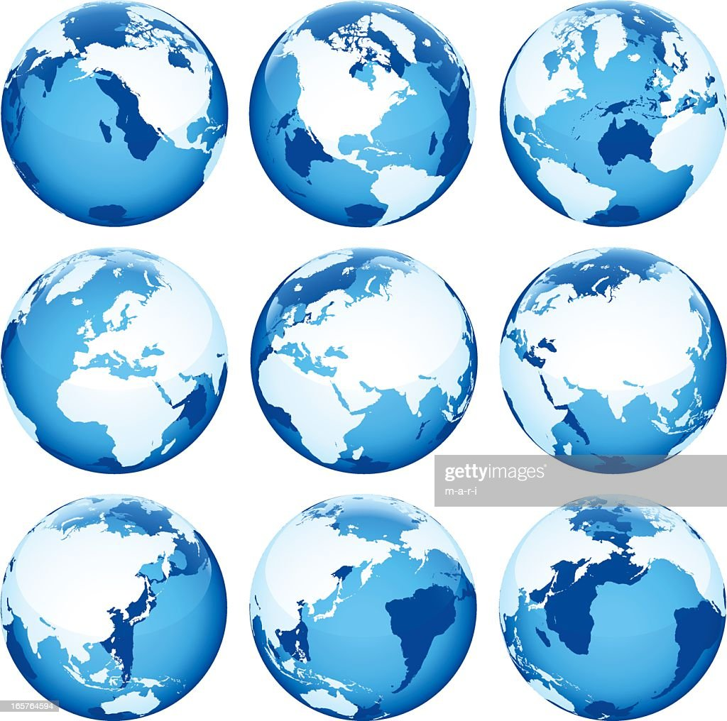 Set of nine blue globe icons on a white background
