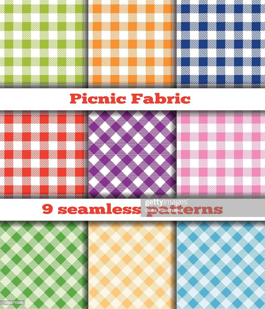 Set of nine checkered seamless patterns for picnic fabrics