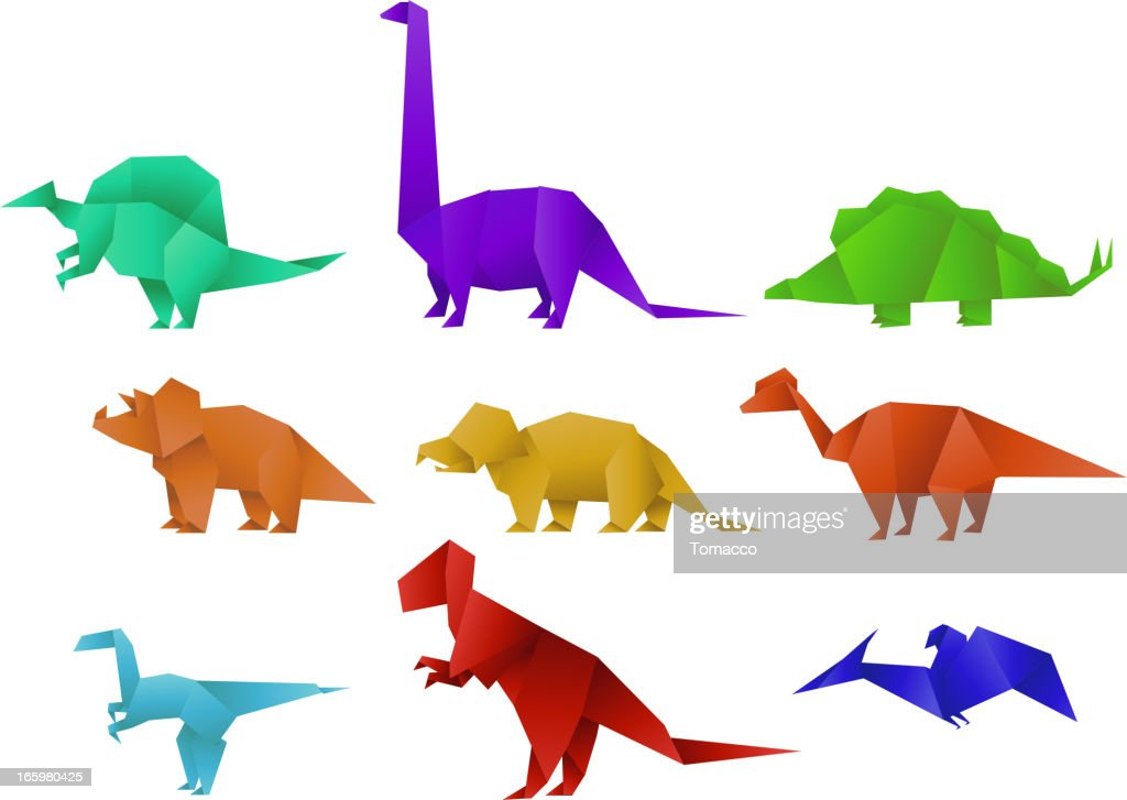 Set of Nine Color Paper Origami Dinosaur Collection vector illustration