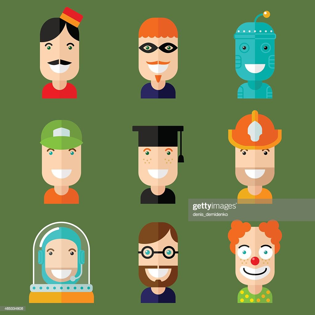 Set of nine colorful avatars depicting different jobs