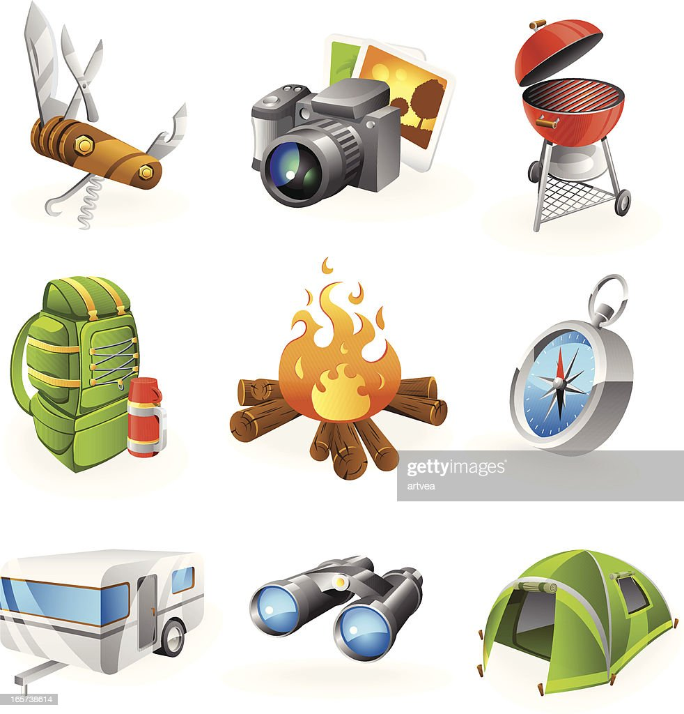 A set of nine colorful camping icons