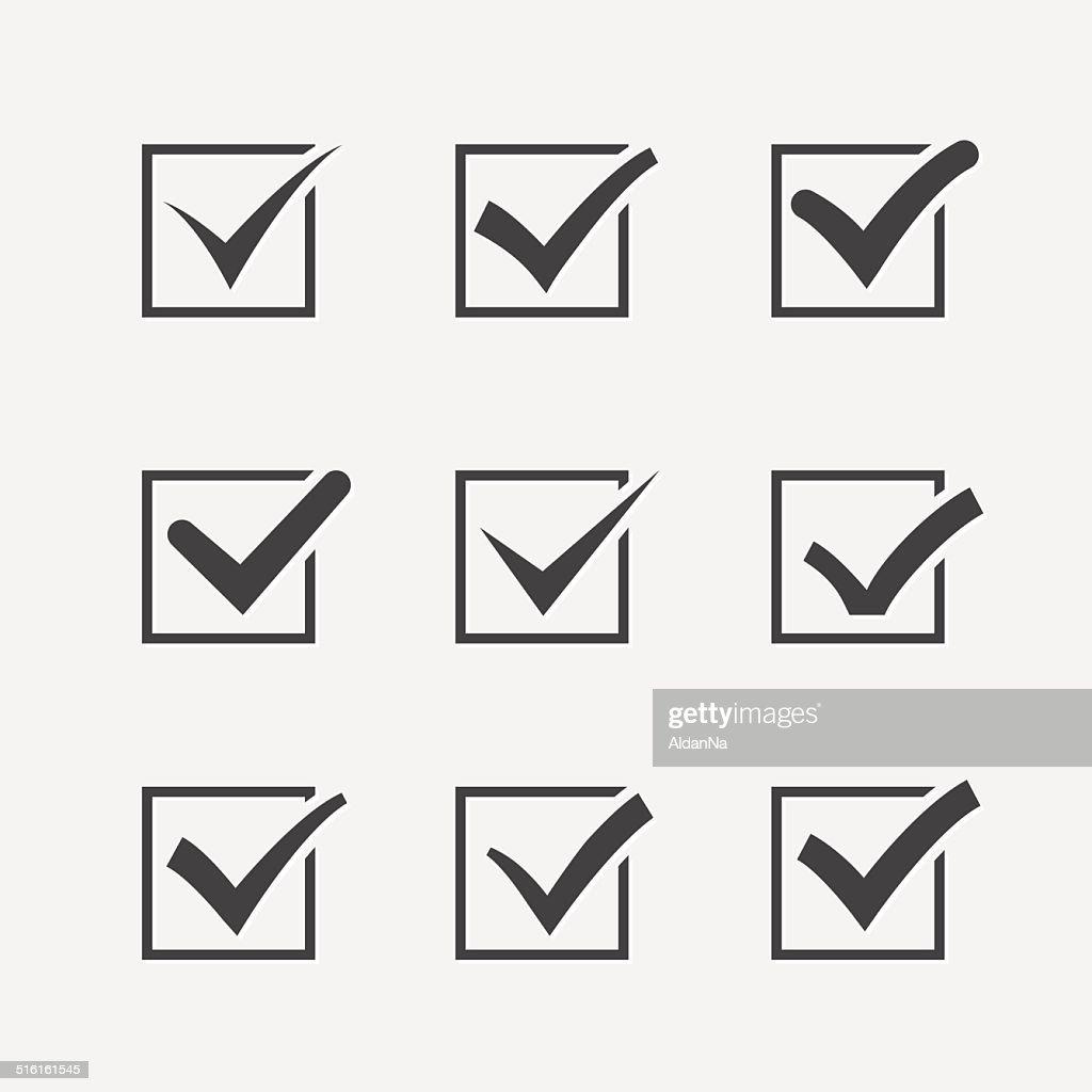 Set of nine different grey vector ticks or check marks