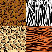 Set of nine different wild animals skin patterns
