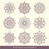 Set of nine ethnic mandalas.