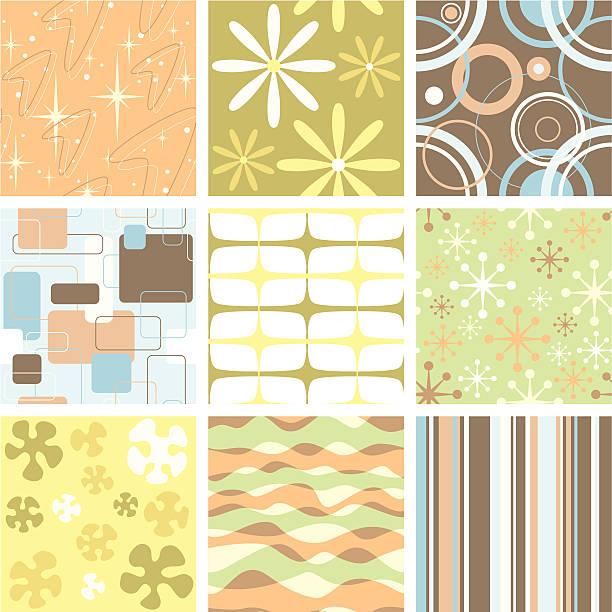 set of nine funky retro seamless patterns - femininity stock illustrations