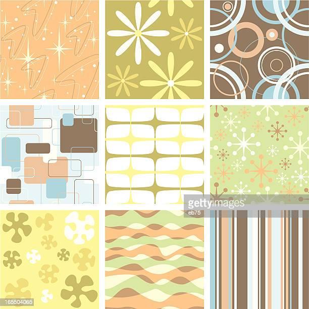 set of nine funky retro seamless patterns - brown stock illustrations