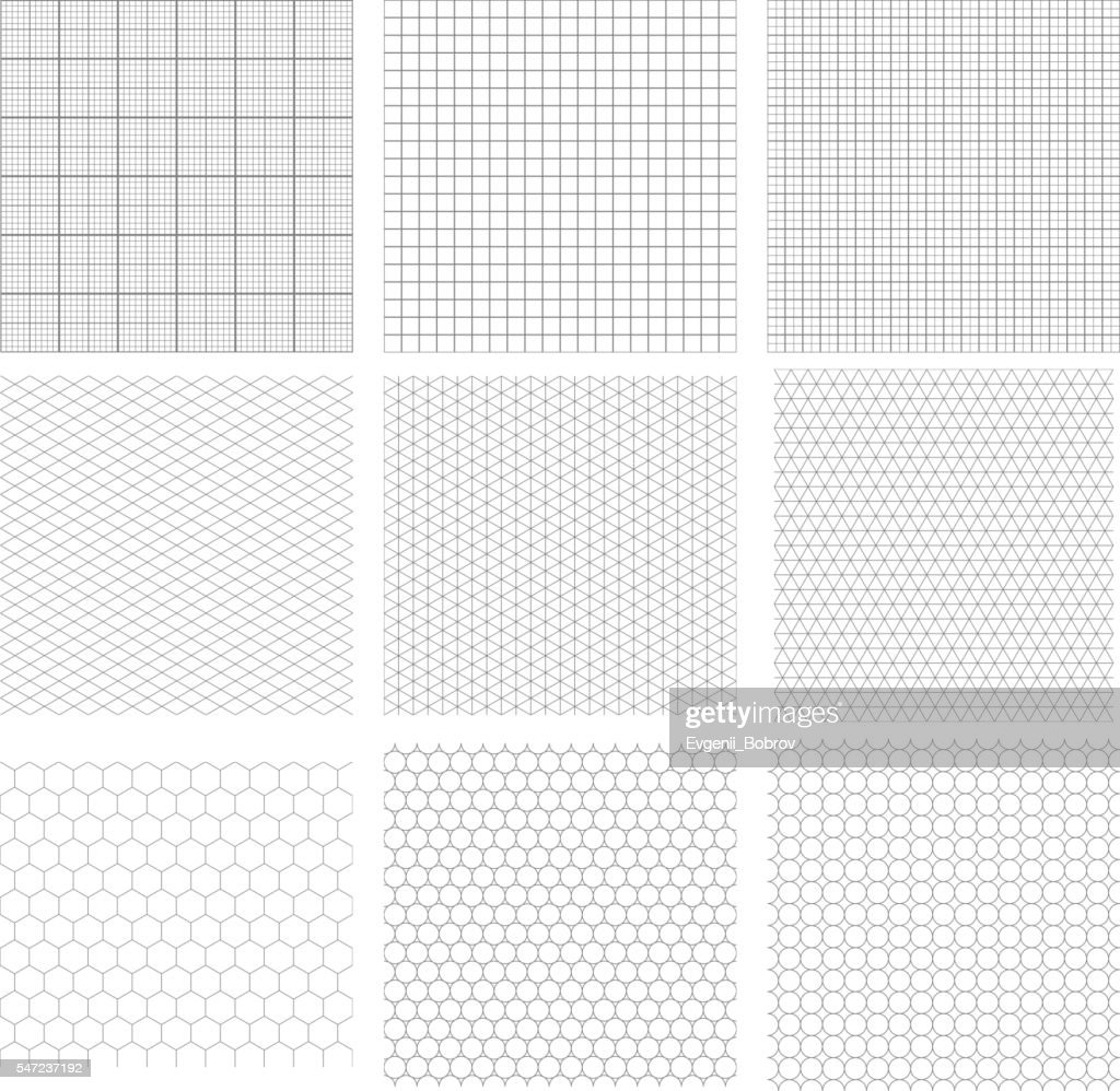 Set of nine gray geometric grids
