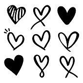 Set of nine hand drawn heart. Hand drawn rough marker hearts isolated on white background.
