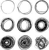 Set of nine hand drawn scribble circles on white