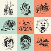 Set of nine illustrations with hand drawn fantastic creatures cartoonish