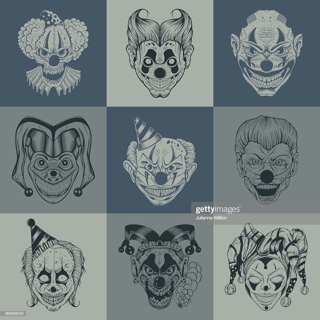 Set of nine images with painted fantastic scary clown