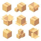 Set of nine isometric cardboard boxes isolated on white