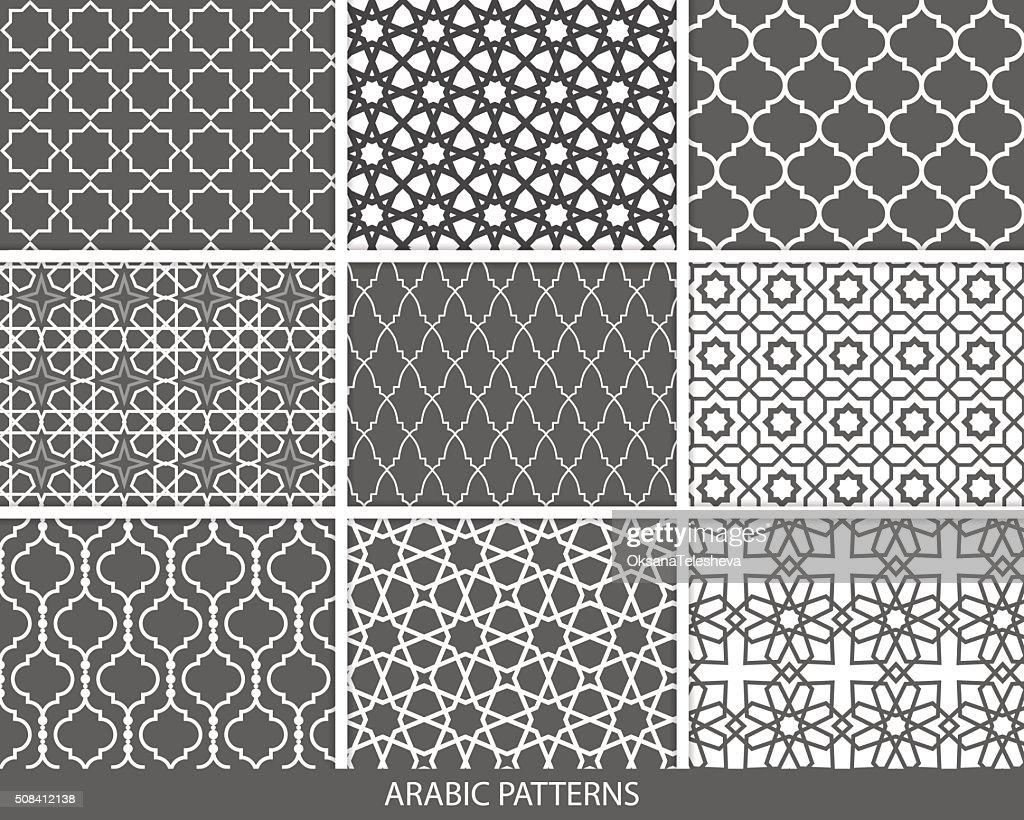 Set of nine monochrome Arabic patterns