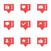 Set of nine notifications in social media