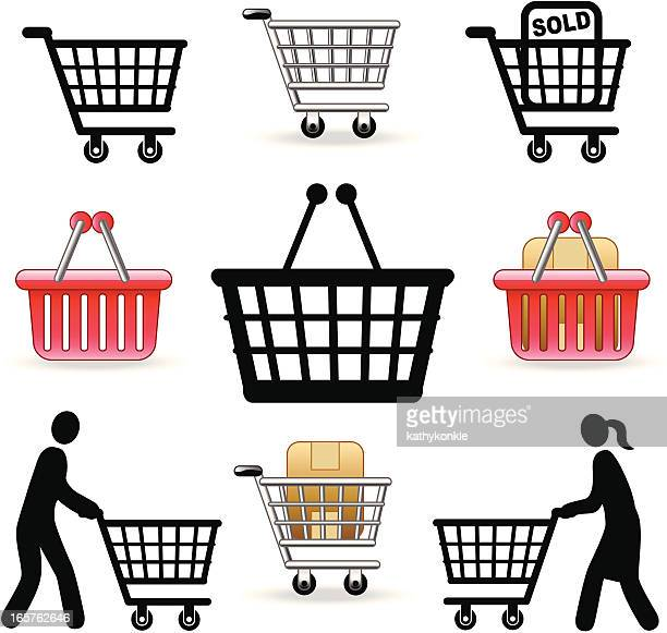 Set of nine shopping cart vector icons