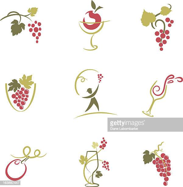 set of nine sketchy grapevine and wine elements icons illustration - grape stock illustrations, clip art, cartoons, & icons