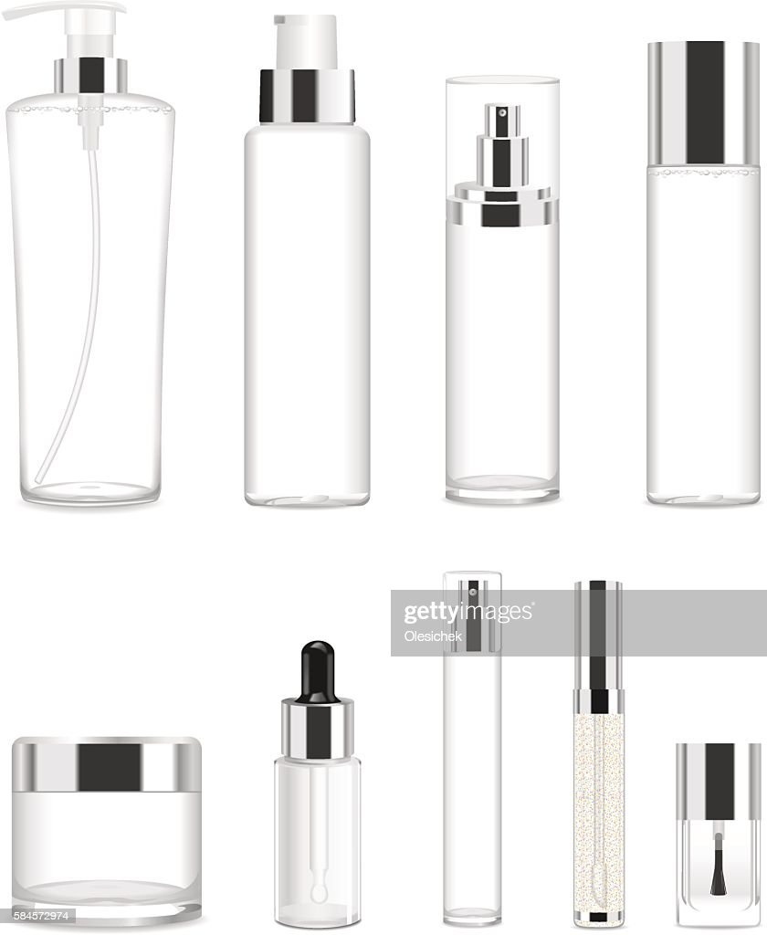 Set of nine transparent cosmetic tubes. Vector