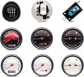 Set of nine vector car-themed icons over a white background